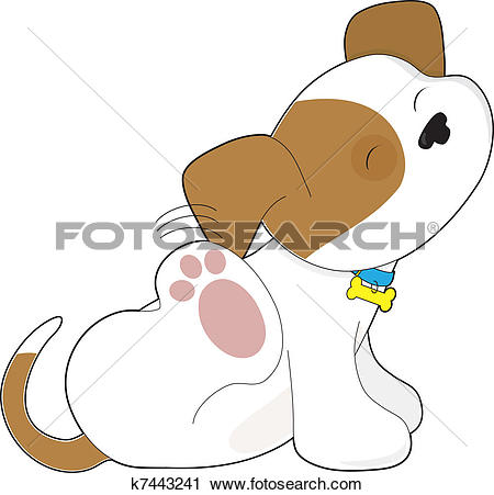 Clipart of Cute Puppy Scratching k7443241.