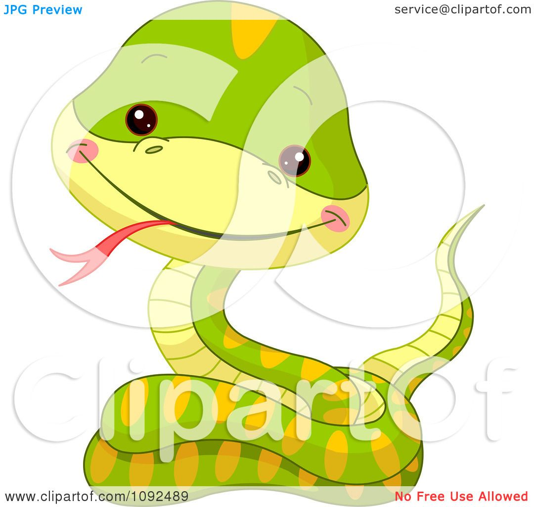 Clipart Cute Baby Zoo Snake.