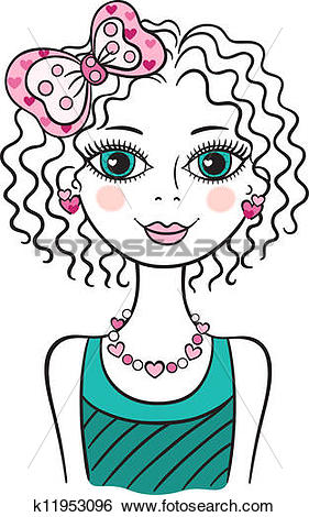 Clip Art of Cute funny teen girl k11953096.
