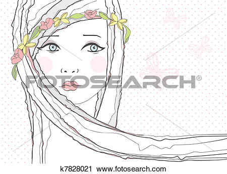 Clipart of Cute teen girl, flowers background k7828021.