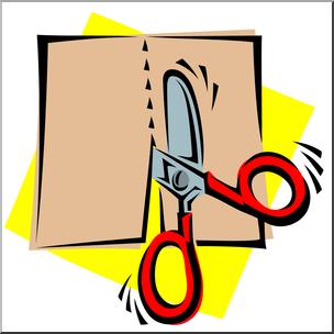 Clip Art: Scissors: Cutting Straight Color I abcteach.com.
