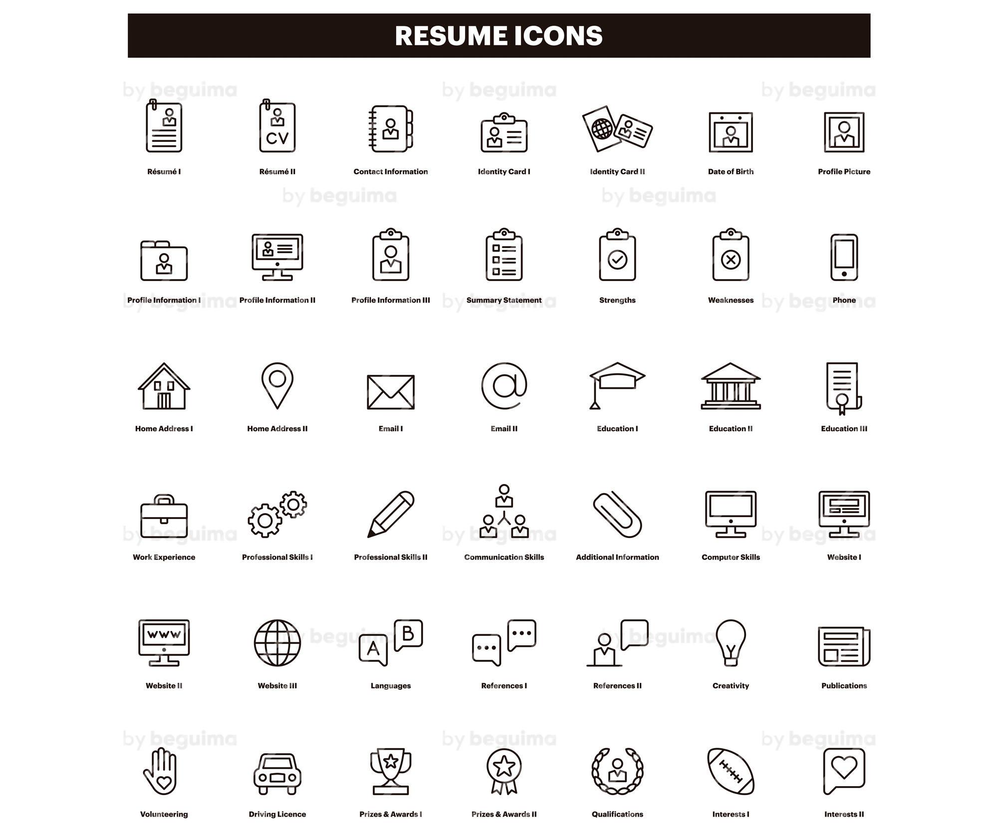 Resume,Icons,CV,Clip Art,Curriculum Vitae,Clipart,Set Of  Icons,Line,Linear,Black,Outline,Minimalist,Vector File,Eps,Jpg,Png,Digital  Download.