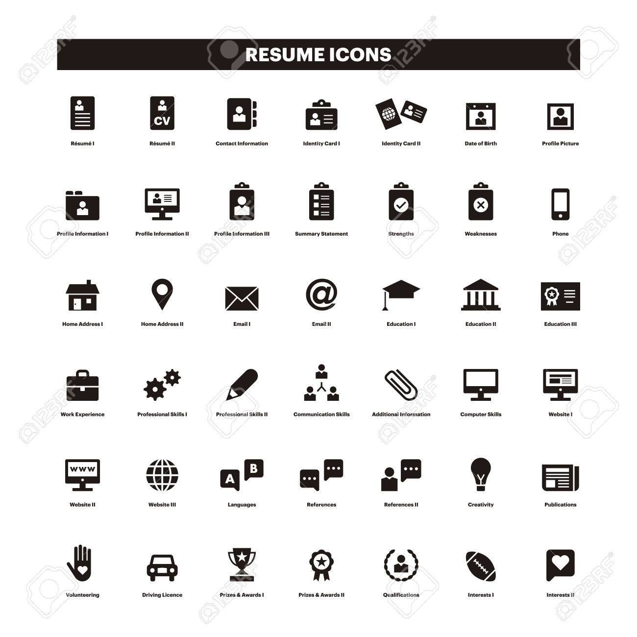 CV and resume black solid icons.