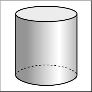 Clip Art: 3D Solids: Cylinder Grayscale I abcteach.com.