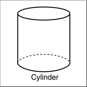 Clip Art: 3D Solids: Cylinder B&W Labeled I abcteach.com.