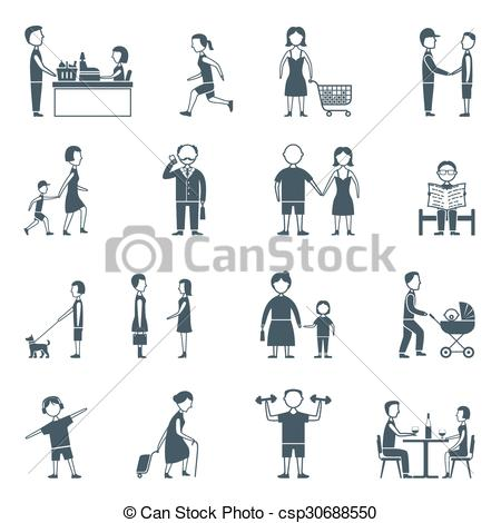 Clipart Vector of Daily Life Flat Icon Set.