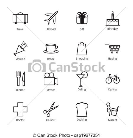 Clipart Vector of Daily life icons. Vector illustration.