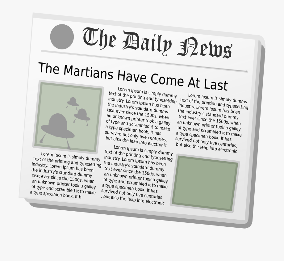 Newspaper Clipart Daily News Aliens.