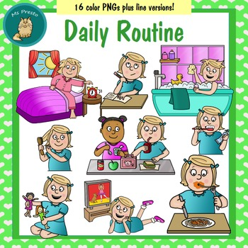 Daily Routine Clipart Worksheets & Teaching Resources.