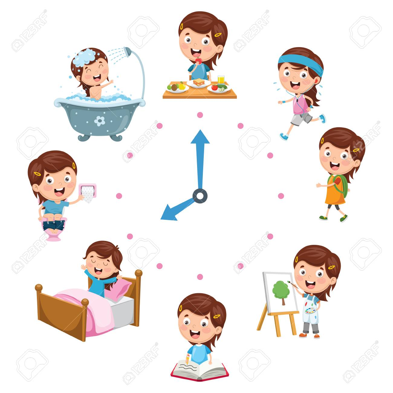 Vector Illustration Of Kids Daily Routine Activities.