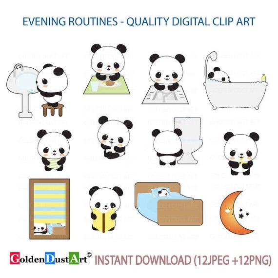 Evening Routines Clipart, Daily Routines, Panda planning Clipart, Kawaii  Panda, Panda Digital Stickers, Cute Panda Clipart.