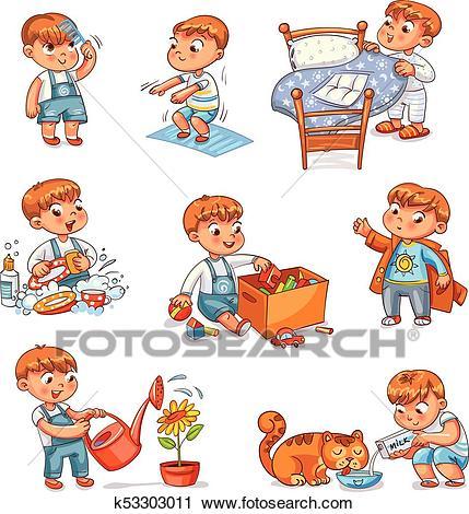 Cartoon kid daily routine activities set Clipart.