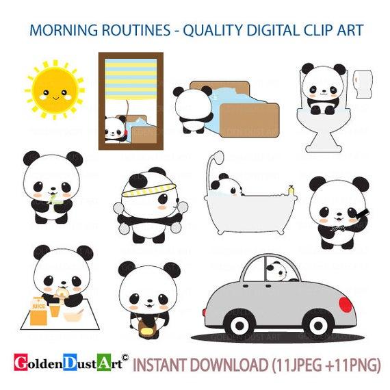 Morning Routines Clipart, Daily Routines, Panda planning Clipart, Kawaii  Panda, Panda Digital Stickers, Cute Panda Clipart.