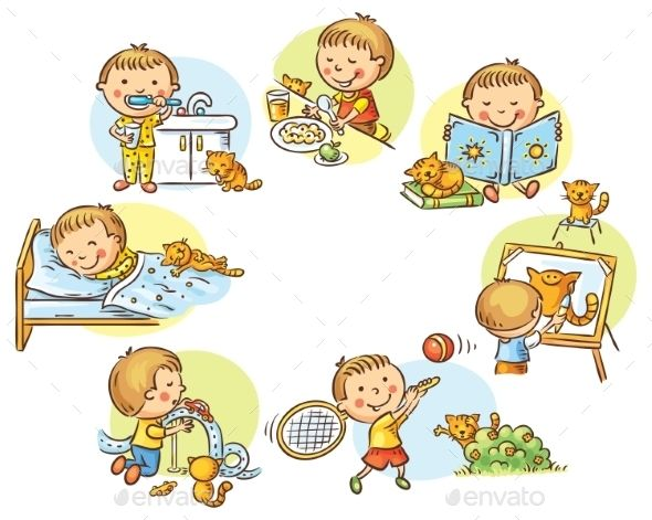 Little Boy\'s Daily Activities.
