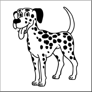 Clip Art: Cartoon Dalmatian Dog B&W I abcteach.com.
