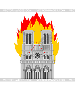 Notre Dame de Paris Fire. Burning roof of historic.