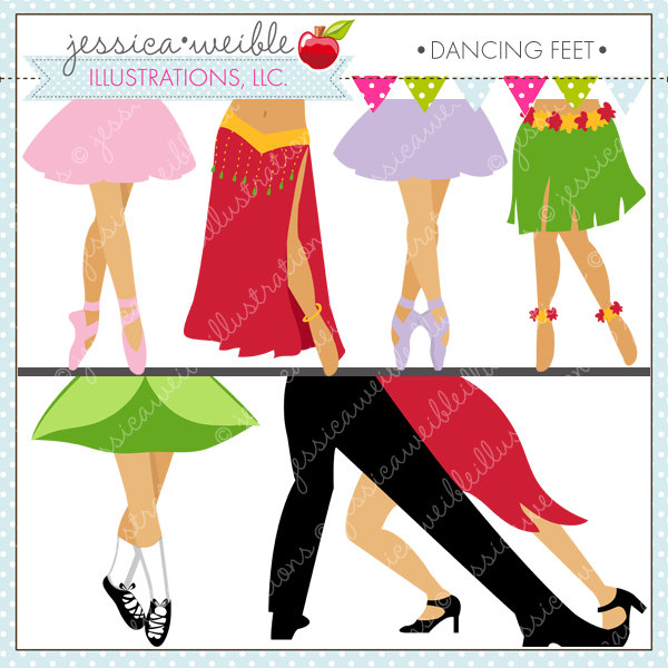 Dancing Feet Cute Digital Clipart for Commercial or Personal.