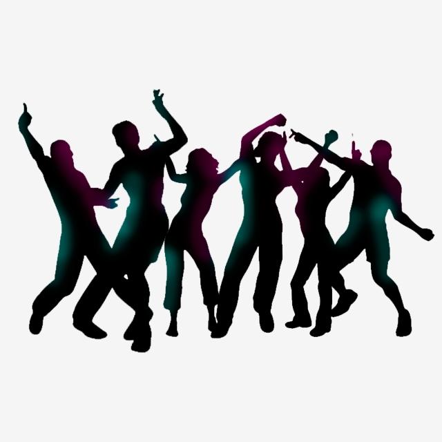 Dancing People Cartoon Elements Silhouettes, Dancing, People.