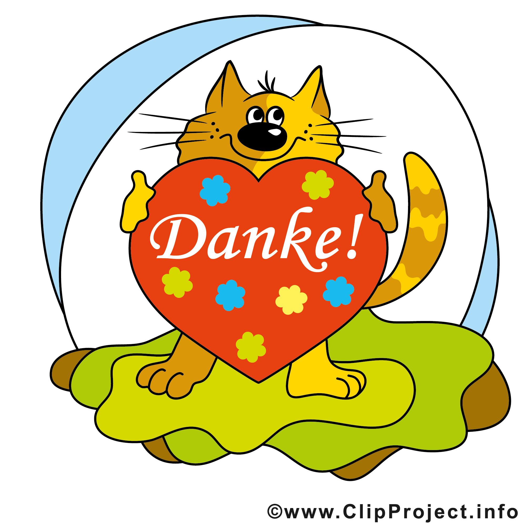 Danke Bild mit Herz und Katze.