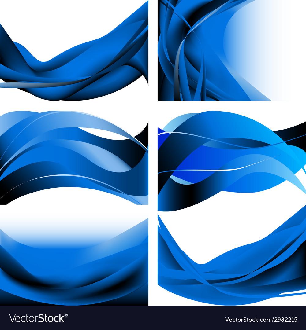 Blue dark waves isolated set on white background.