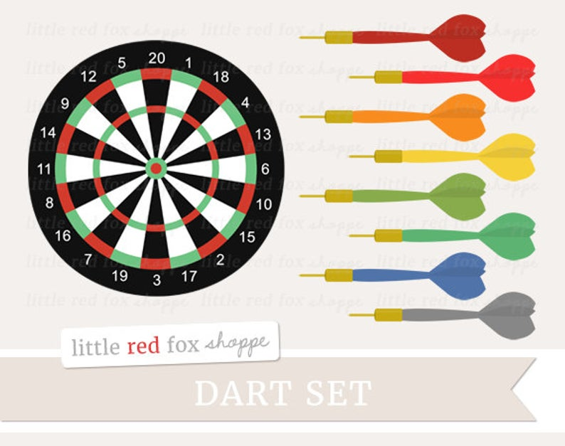 Darts Clipart, Dart Set Clip Art Game Board Wall Sport Red Orange Yellow  Green Blue Arrow Cute Digital Graphic Design Small Commercial Use.