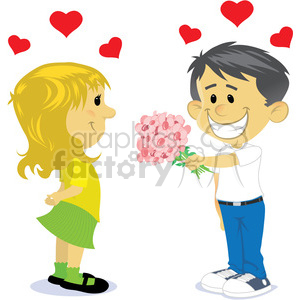boy and girl dating cartoon vector clipart. Royalty.