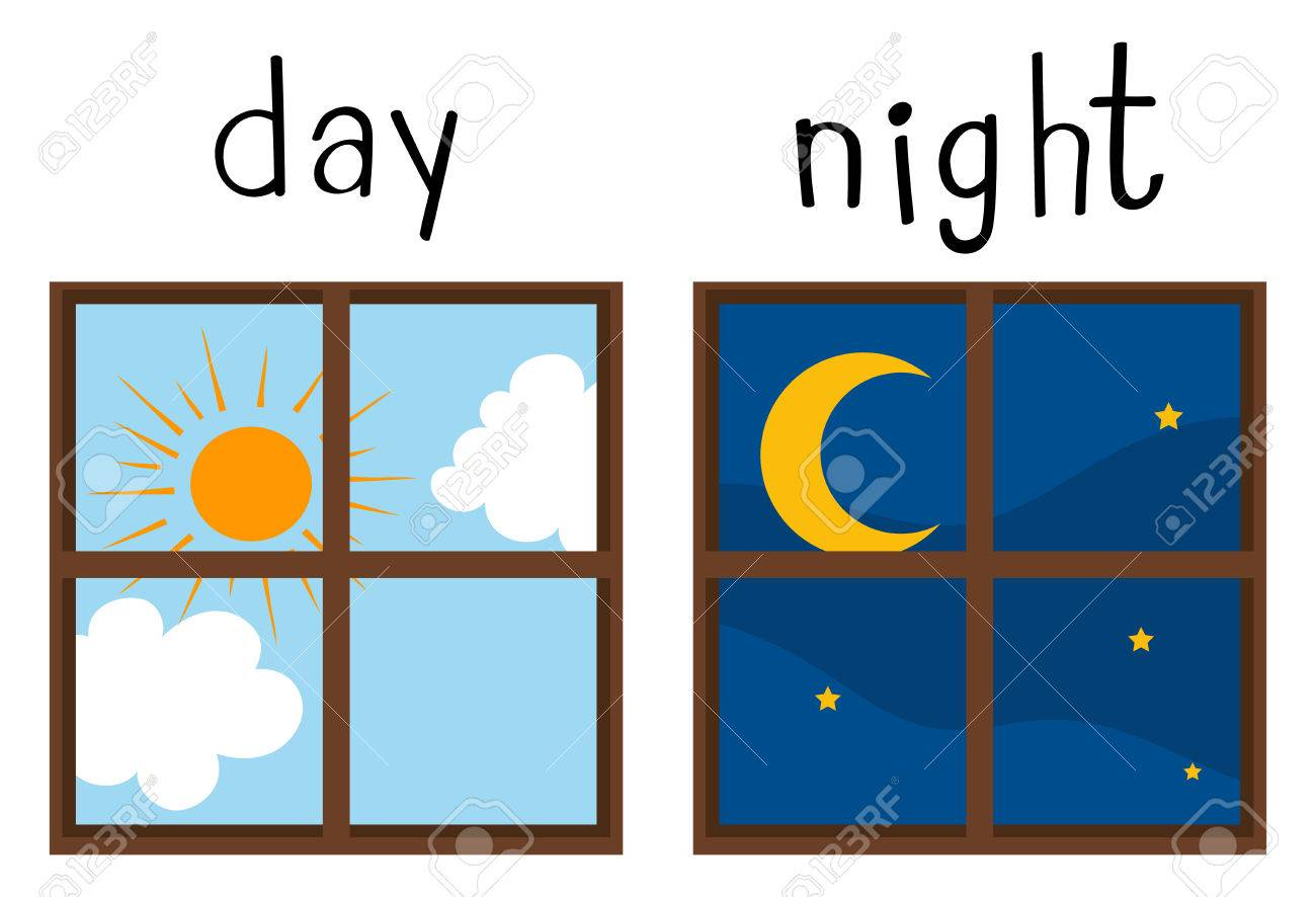 Opposite wordcard for day and night illustration.