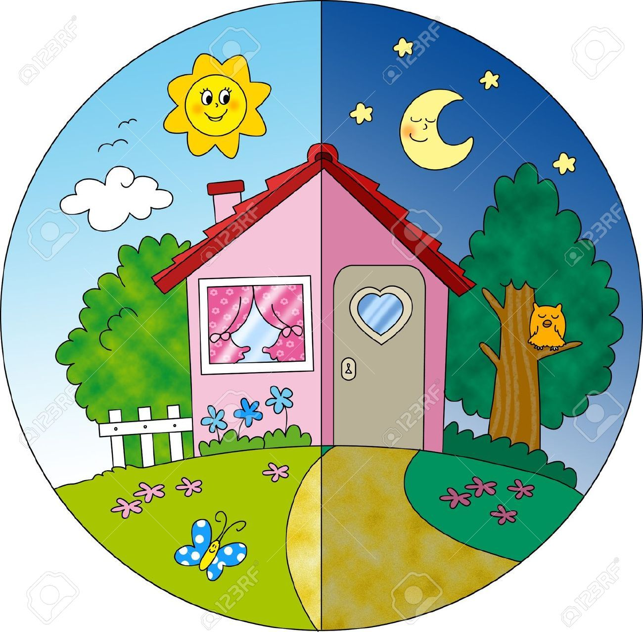 Image result for day and night clipart animated.