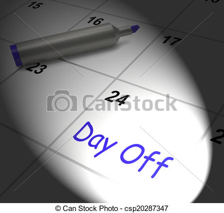Drawing of Day Off Calendar Displays Work Leave And Holiday.