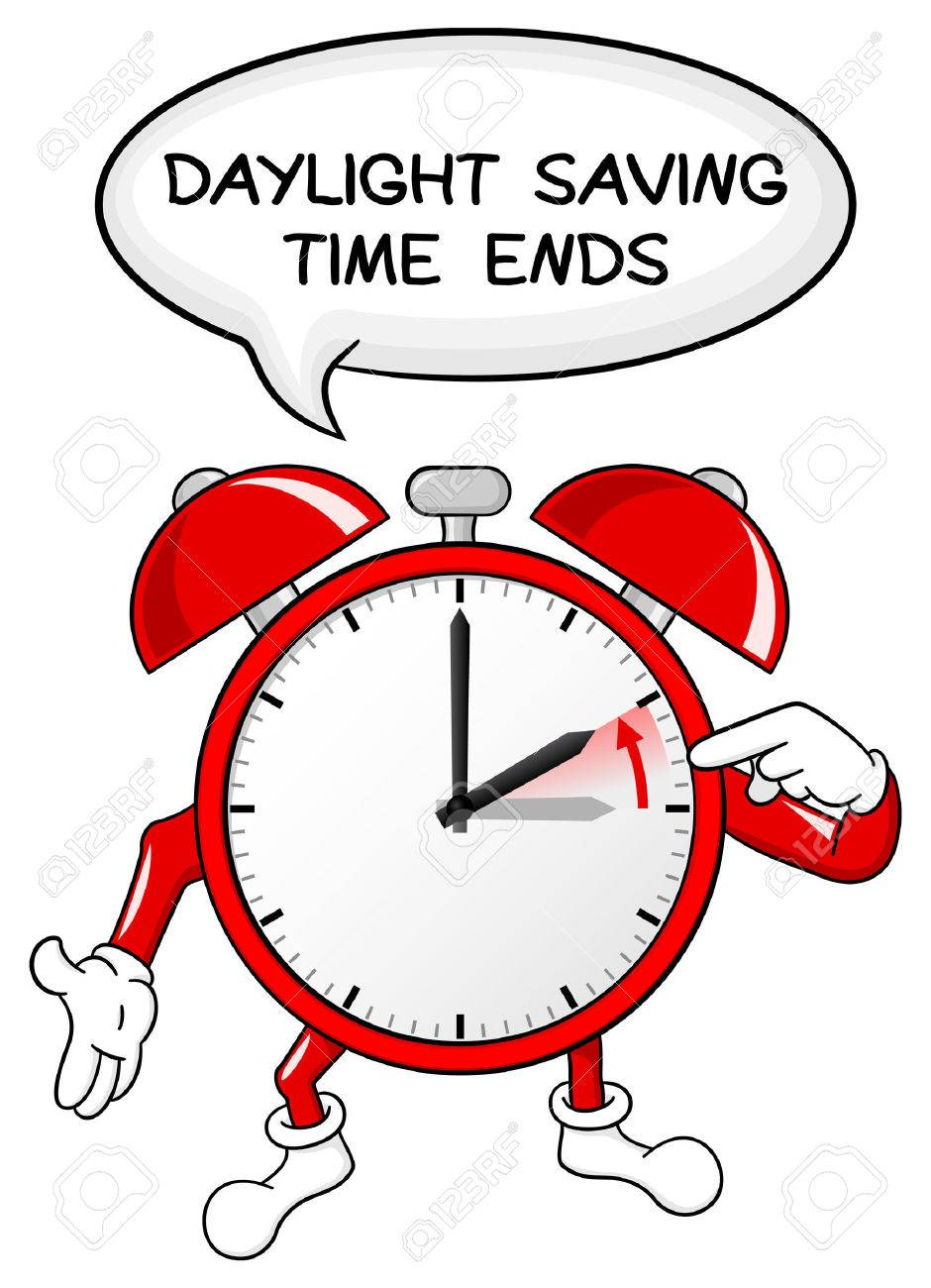 vector illustration of a alarm clock return to standard timedaylight...