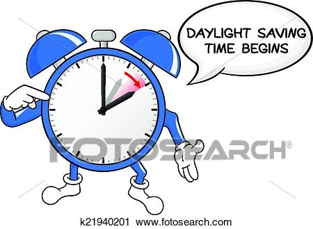 Alarm clock change to daylight saving time Clipart.