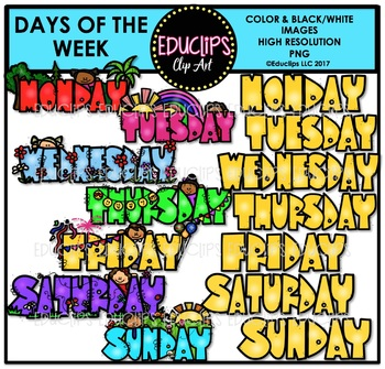 Days Of The Week Clip Art Bundle {Educlips Clipart}.