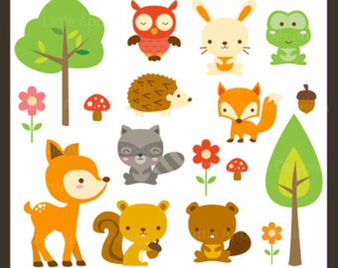 Clipart de animales tribales woodland.