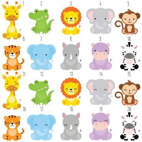 Safari Bebé Animales Clipart / Animales de la selva Clipart.