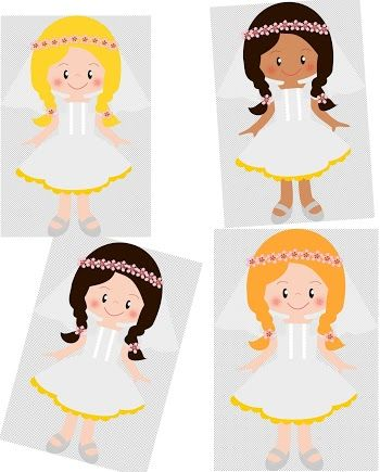 Girls in their First Communion Clip Art..