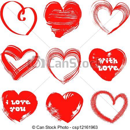 Clip Art de vectores de handdrawn, Corazones, Valentines, día.