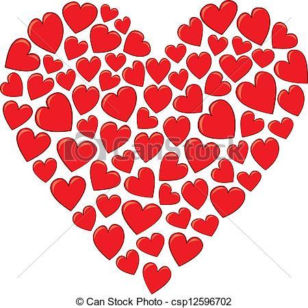 Vector Clip Art de corazón, hecho, Corazones.