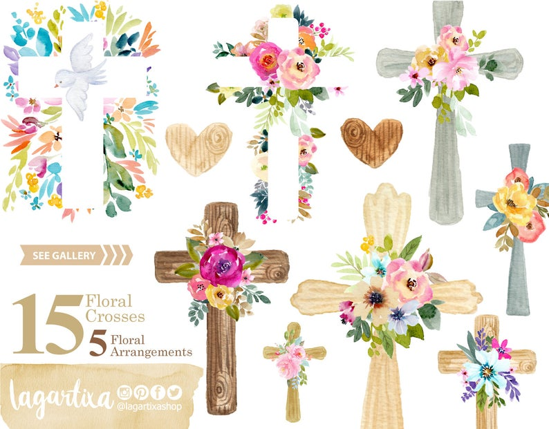 Clipart Acuarela PNG Cruces de Madera, Flores, Eventos Bautizo, rosa,  violeta, hojas verdes, Primera Comunion, Decoracion Fiesta, Etiquetas.