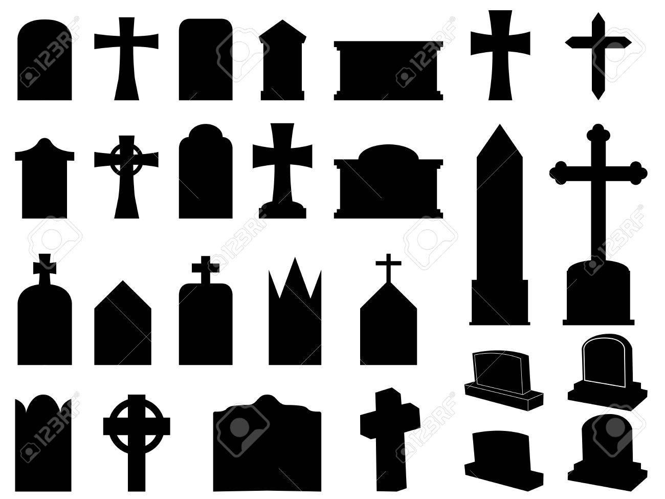 Las lápidas y cruces colección de siluetas ilustración.