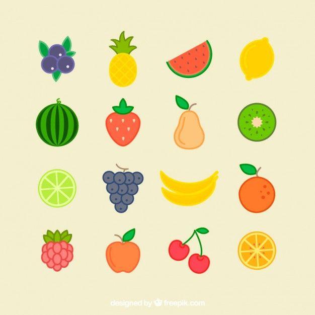 Coleção De Frutas Plana Verão.
