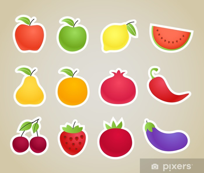 Vinilo Vector de frutas y verduras de las siluetas clipart Pixerstick.