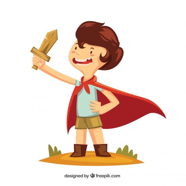 Niño con una espada de madera y una capa.
