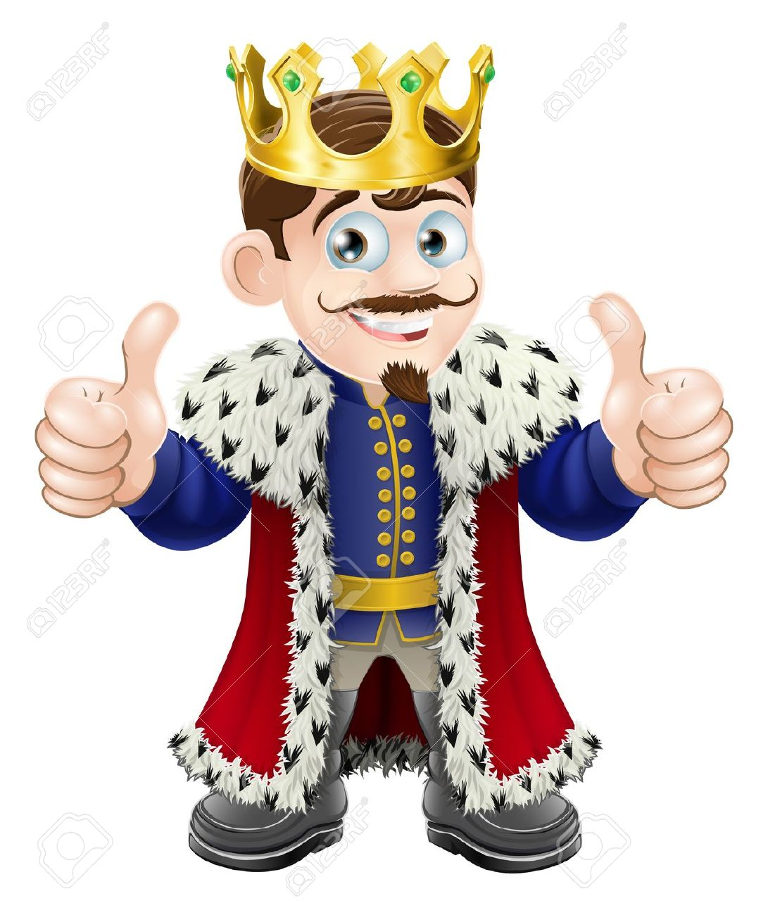 Ilustración De Dibujos Animados De Un Rey Lindo Con La Corona Y.