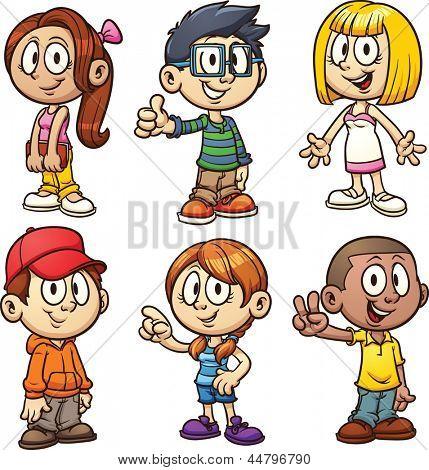 Niños de dibujos animados lindo. Ilustración con gradientes.
