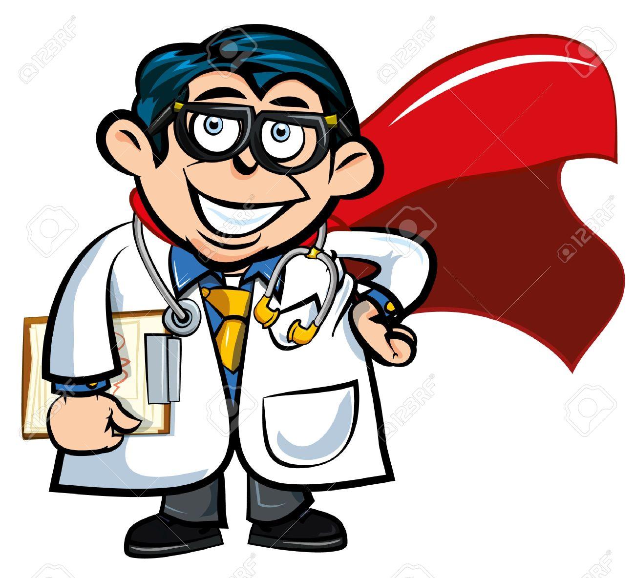Médico De Dibujos Animados Con Una Capa De Superhéroe. Aislados En.
