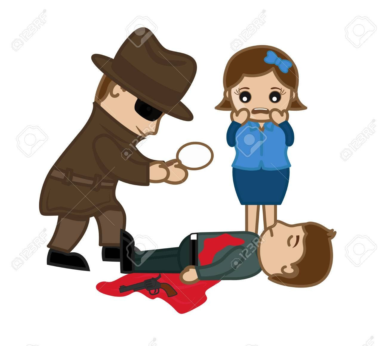 On Dead Body Clipart 64173774 Girl Shocked And Detective Agent.