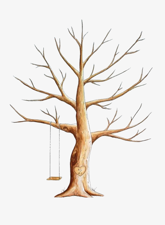 Swing Under The Dead Tree, Tree Clipart, Dead Tree, No Leaves PNG.