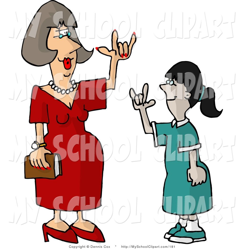 Royalty free school clip art of a deaf teacher using sign language.