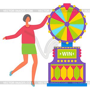 Girl in Green Skirt Spinning Roulette Wheel.