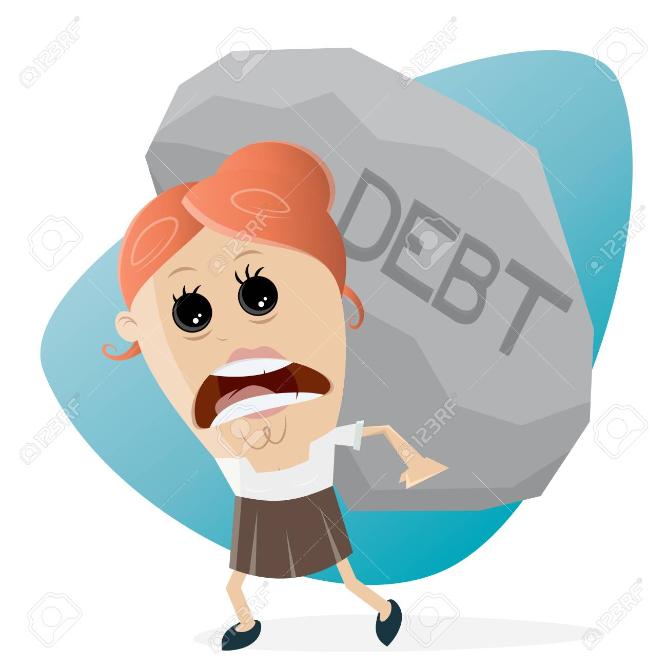 clipart of businesswoman carrying a big debt rock.